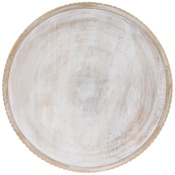 Whitewash & Gold Round Wood Platter