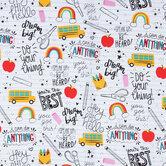 Dream Big School Supplies Cotton Fabric