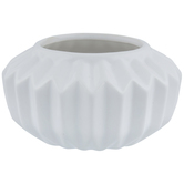 White Low Fluted Pot