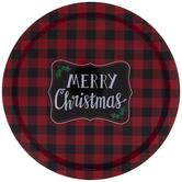 Red & Black Buffalo Check Merry Christmas Round Tray