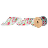 """Light Turquoise & Red Floral Wired Edge Ribbon - 2 1/2"""""""