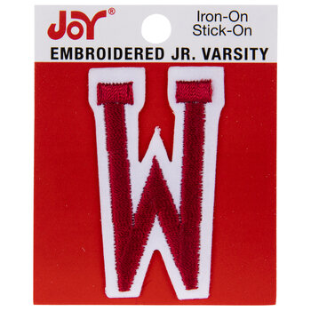 Red Junior Varsity Letter Iron-On Applique W - 2""