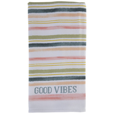 Good Vibes Striped Kitchen Towel
