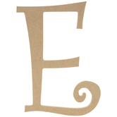 """Curly-Q Wood Letter E - 8"""""""