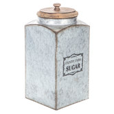 Country Farm Sugar Galvanized Metal Canister