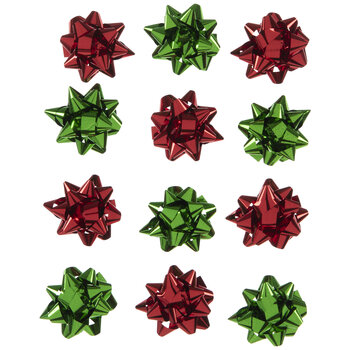 Red & Green Metallic Bow Stickers