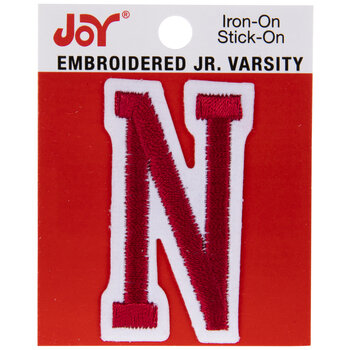 "Red Junior Varsity Letter Iron-On Applique N - 2"""