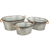 Oval Hammered Metal Container Set