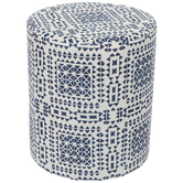 White & Blue Fabric Foot Stool