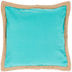 Turquoise Canvas Jute Trim Pillow Cover