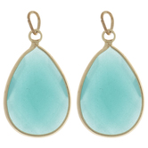 Blue Green Teardrop Faceted Glass Charms