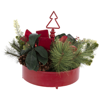 Evergreen Foliage In Red Container