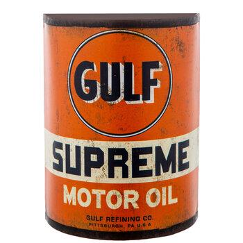 Gulf Motor Oil Half Can Metal Wall Decor