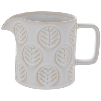 White Embossed Leaves Pitcher