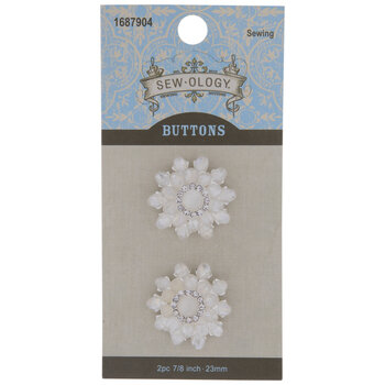 Rhinestone Flower Shank Buttons - 23mm
