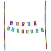 Rainbow Foil Happy Birthday Cake Banner