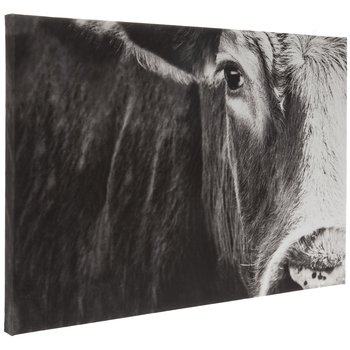 Black & White Cow Face Canvas Wall Decor