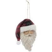 Santa With Plaid Hat Ornament