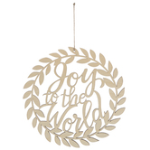 Joy To The World Wreath Hanging Wood Shape