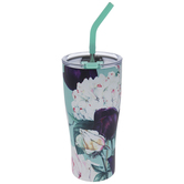 Blue & Purple Floral Cup With Straw