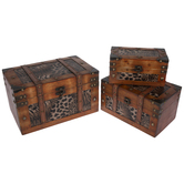 Animal Print Wood Trunk Box Set