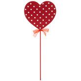 Red & White Polka Dot Heart Pick