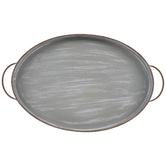 Gray Metal Tray With Ridges