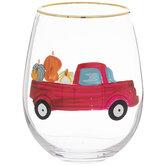 Red Truck & Pumpkins Stemless Glass