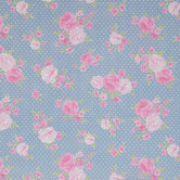 Chambray Blue Roses & Mini Dots Cotton Calico Fabric