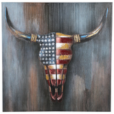 American Flag Cow Skull Canvas Wall Decor