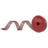 "Metallic Red & Green Plaid Wired Edge Ribbon - 1 1/2"""