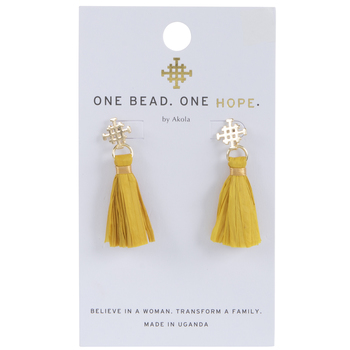 Yellow Raffia Coptic Earrings