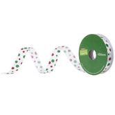 "White, Red & Green Polka Dot Single-Face Ribbon - 5/8"""