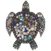 Sea Turtle Rhinestone Brooch