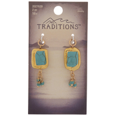 Imitation Turquoise Rectangle Drop Pendants