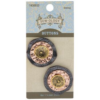 Ruffled Metal Shank Buttons - 31mm