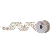 "Gold Glitter Scroll Wired Edge Sheer Ribbon - 1 1/2"""