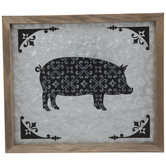 Patterned Pig Galvanized Metal Wall Decor