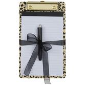 Metallic Gold & Black Leopard Print Mini Clipboard & Pad