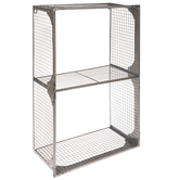 Silver Two-Tiered Wire Cube Metal Wall Shelf