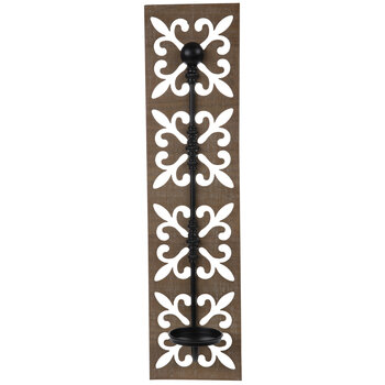 Brown & Black Fleur-De-Lis Wood Wall Sconce