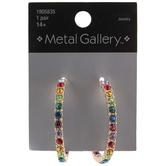 Multi-Color Rhinestone Hoop Earrings