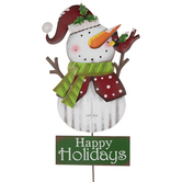 Happy Holidays Snowman Metal Garden Stake