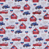 4th Of July Trucks Cotton Fabric