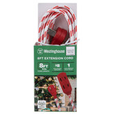 Red & White Striped Three Outlet Extension Cord
