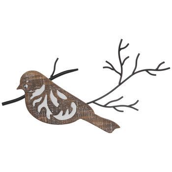 Flourish Bird Looking Left Wood Wall Decor
