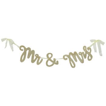 Gold Glitter Mr & Mrs Banner