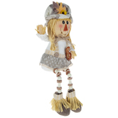 Girl Scarecrow Shelf Sitter With Wood Legs