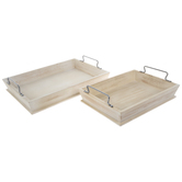 Whitewash Wood Tray Set