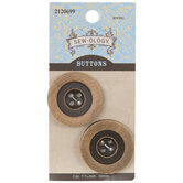 Brown Round Wood Buttons - 30mm